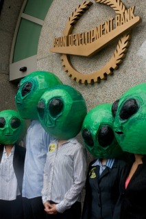 A group of unidentified aliens visited the Asian Development Bank headquarters during an on-going high-level dialogue on climate and clean energy.