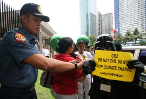 Lea as Darth Vader during a recent Greenpeace direct communication at the Asian Development Bank